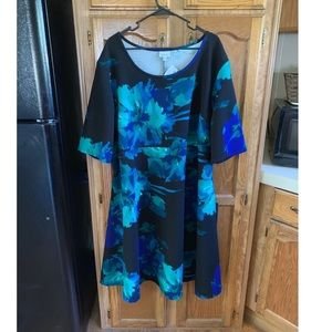 NWT Avenue Black Floral Skater Dress Size 30/32